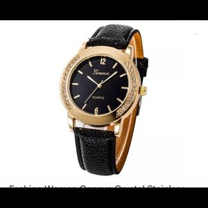 Geneva Black & Gold Watch NWT